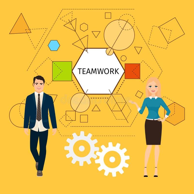 Teamworkbegrepp med affärsfolk royaltyfri illustrationer