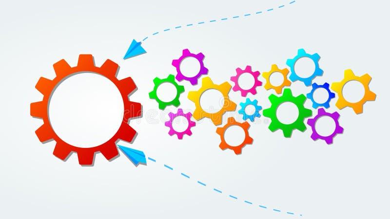 Teamworkbegrepp med färgrika kugghjul eller kugghjulsymboler Affärsstrategi, ledarskap Id? av partnerskap och samarbete royaltyfri illustrationer