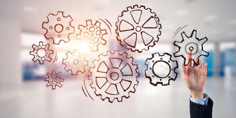 Teamworkbegrepp och väljagest av businesspersonen i elega arkivfoton