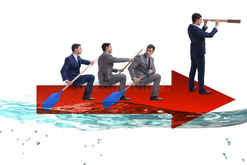 Teamworkbegreppet med affärsmän på fartyget royaltyfria foton