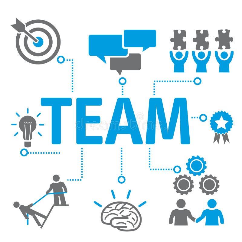 Teamworkconceotsymboler vektor illustrationer