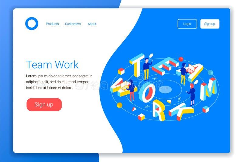 Teamworkdesignbegrepp stock illustrationer