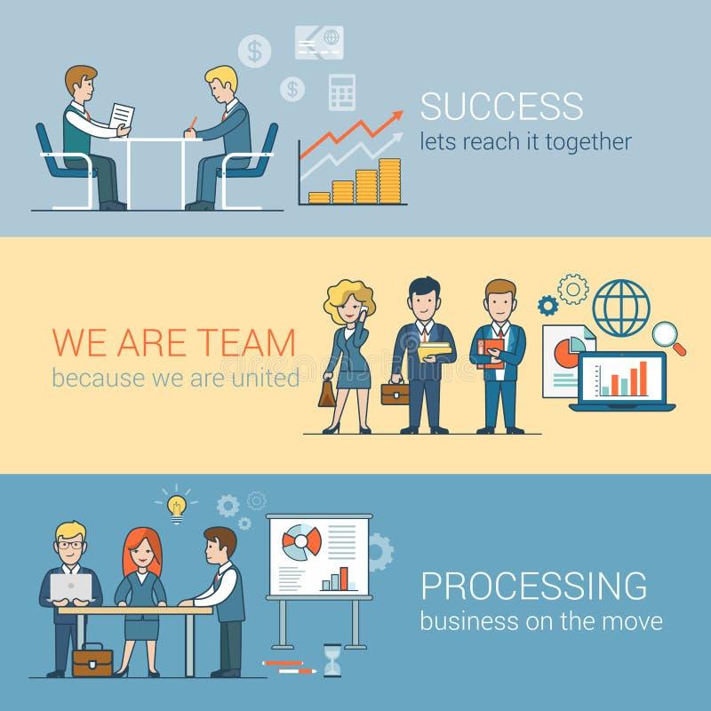 Teamworkframgång som bearbetar den plana linjen konstaffär royaltyfri illustrationer