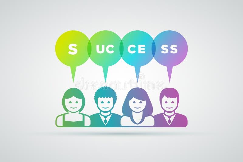 Teamworkframgångbegrepp royaltyfri illustrationer