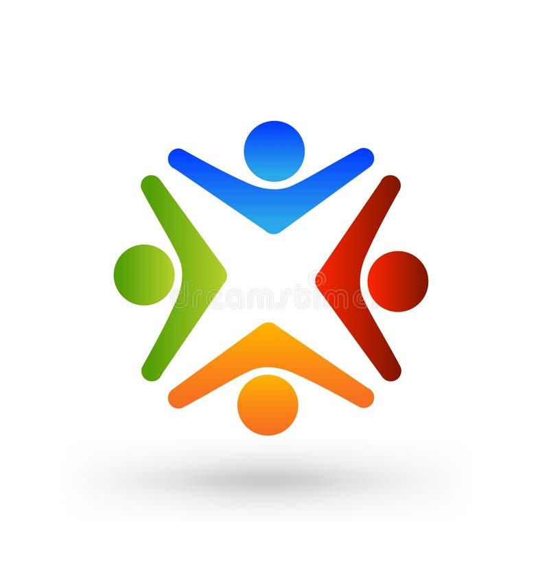 Teamworkgrupp av fyra funktionsdugliga personer, symbolslogo royaltyfri illustrationer