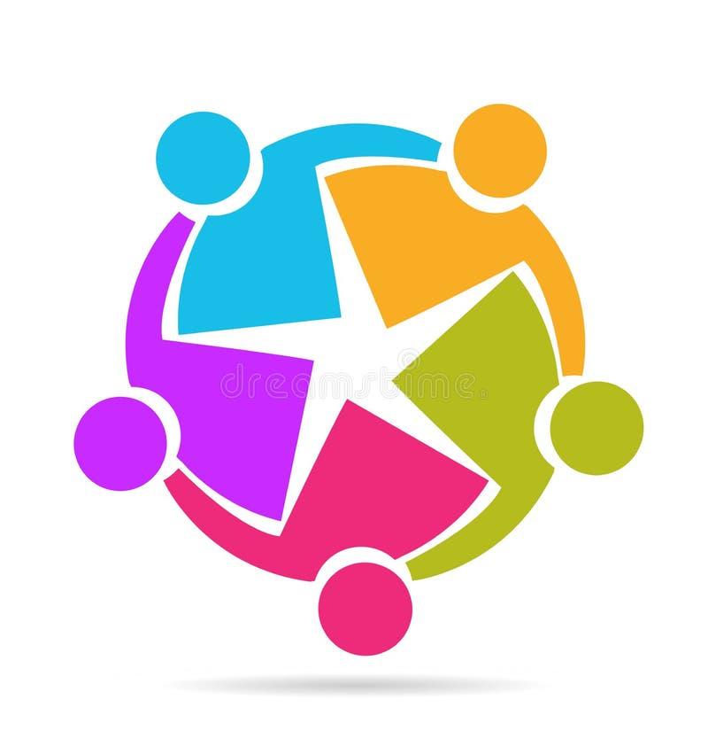 Teamworkgrupp som tillsammans arbetar symbolen vektor illustrationer