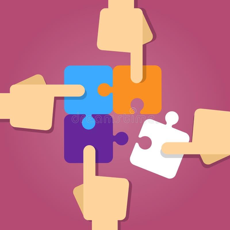 Teamworkhand som arbetar lösa tillsammans pusselstycken stock illustrationer