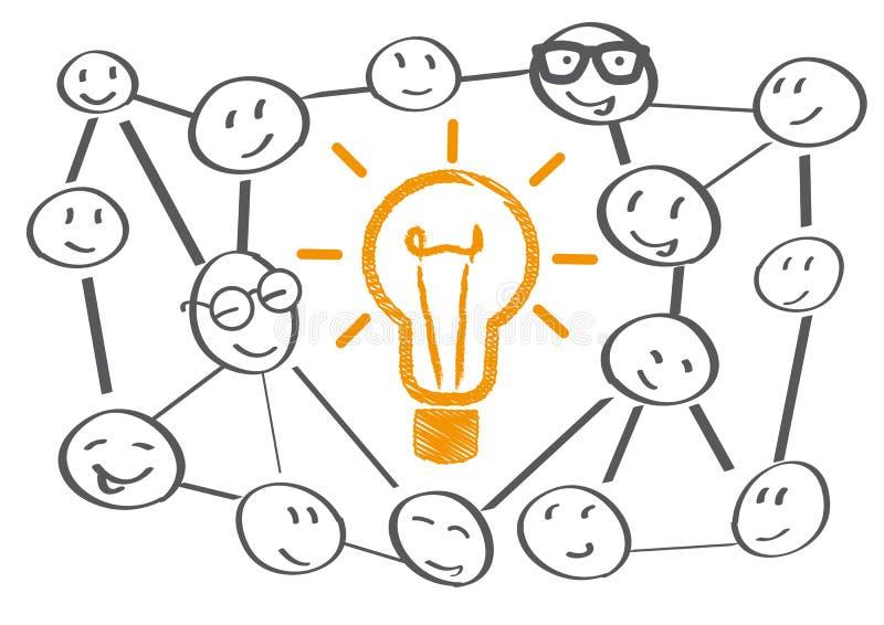 Teamworking en idékläckning vektor illustrationer