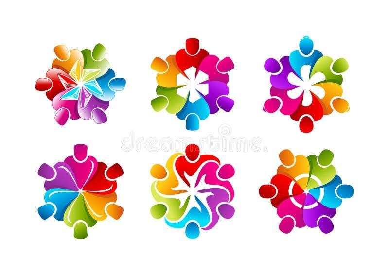 Teamworklogo, affärsmansymbol, idérik folksymbol, yrkesmässig gemenskapbegreppsdesign vektor illustrationer