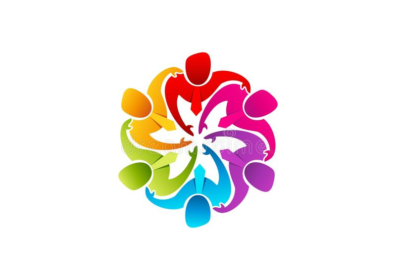 Teamworklogo, affärsmansymbol, leadearshipsymbol, gruppmångfald och arbetarbegreppsdesign stock illustrationer