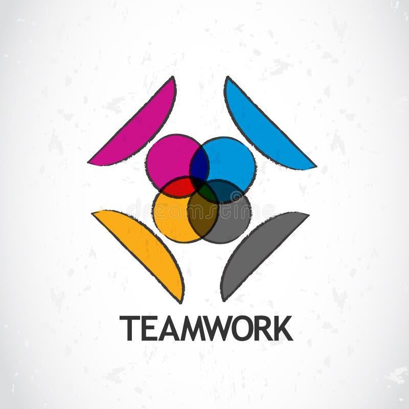 Teamworklogosymbol royaltyfri illustrationer