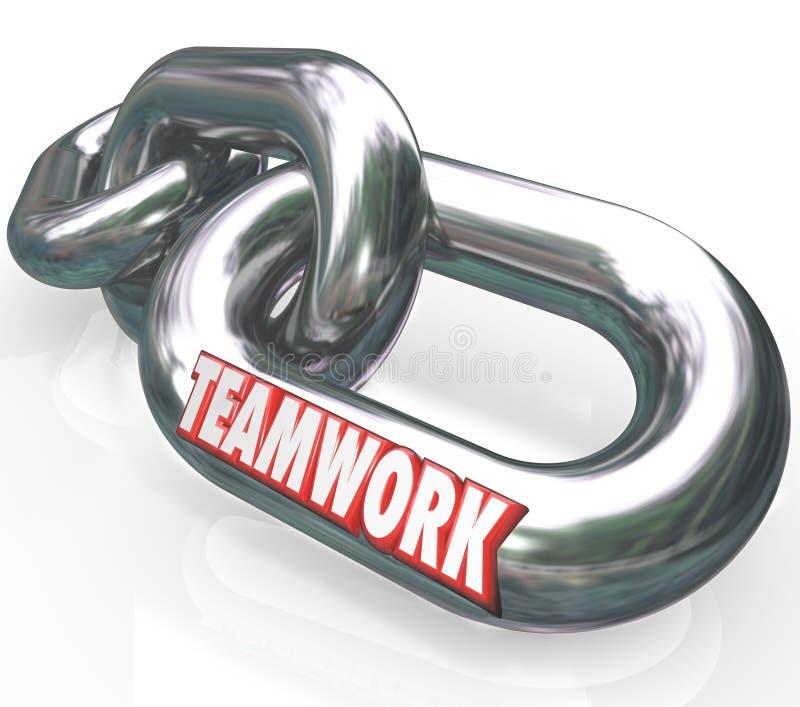 Teamworkordet på Chain sammanlänkningar förband Team Partners vektor illustrationer