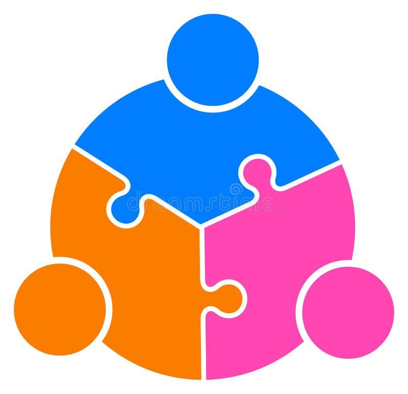 Teamworkpusselfolk förbindelsetillsammans logo royaltyfri illustrationer