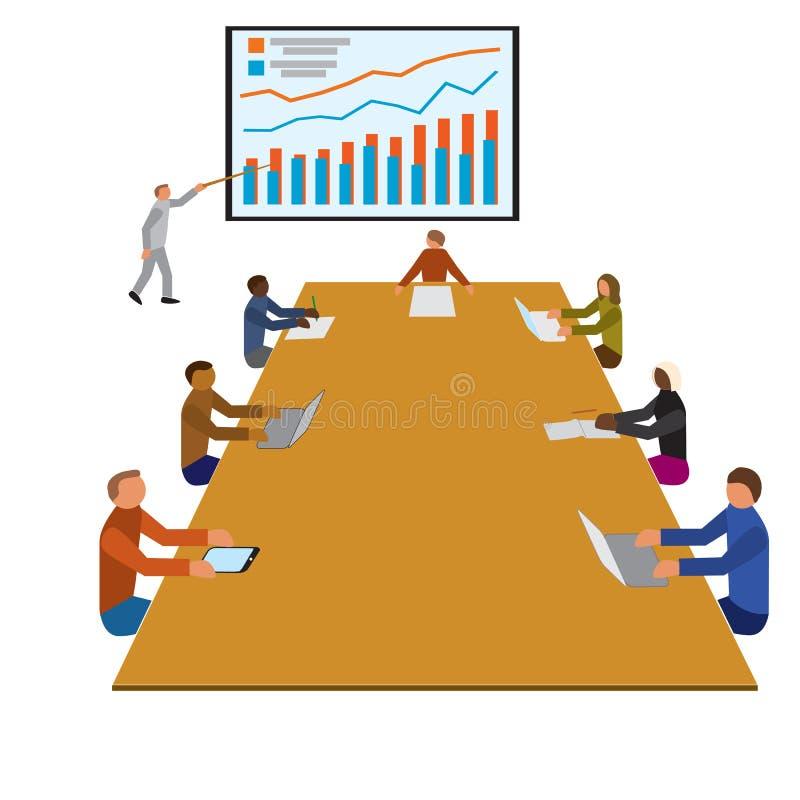 Teamworkseminariummöte, lag för kontorsarbetare royaltyfri illustrationer
