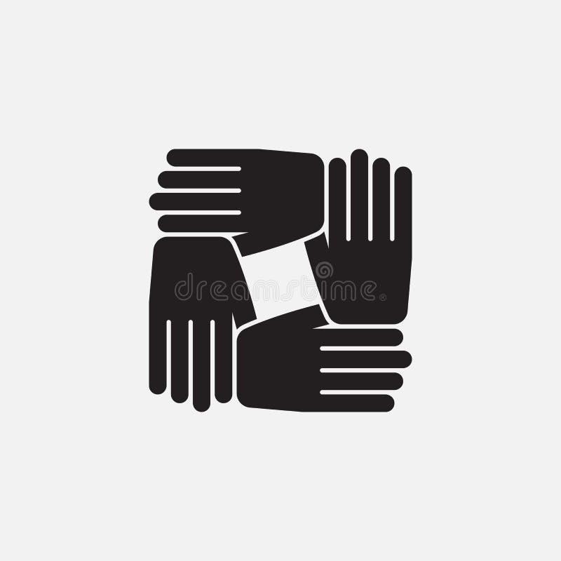Teamworksymbolsvektor, fast logoillustration vektor illustrationer