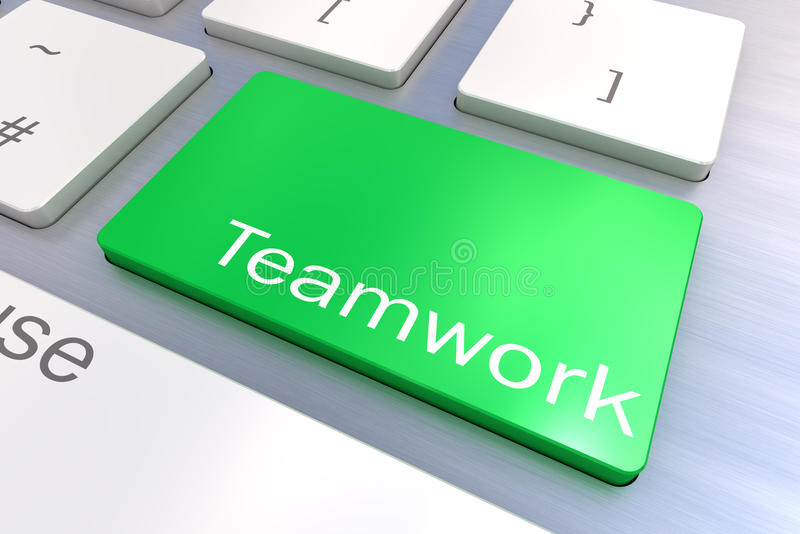 Teamworktangentbordknapp stock illustrationer
