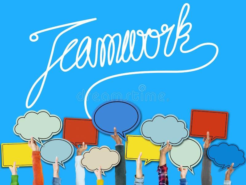 TeamworkTeam Collaboration Support Member Unity begrepp stock illustrationer