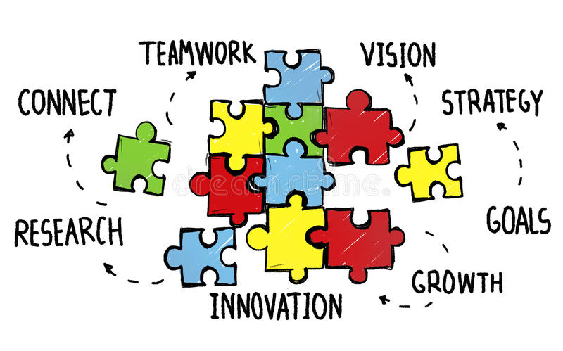 TeamworkTeam Connection Strategy Partnership Support pussel royaltyfri illustrationer