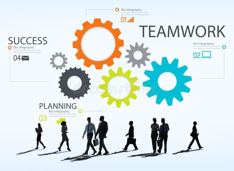 TeamworkTeam Group Gear Partnership Cooperation begrepp stock illustrationer