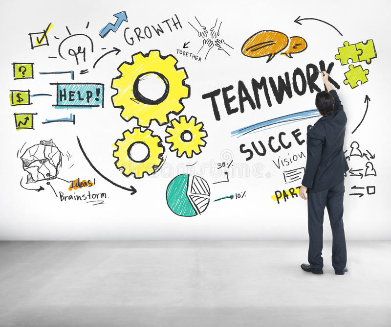 TeamworkTeam Together Collaboration Businessman Writing idéer C arkivfoto