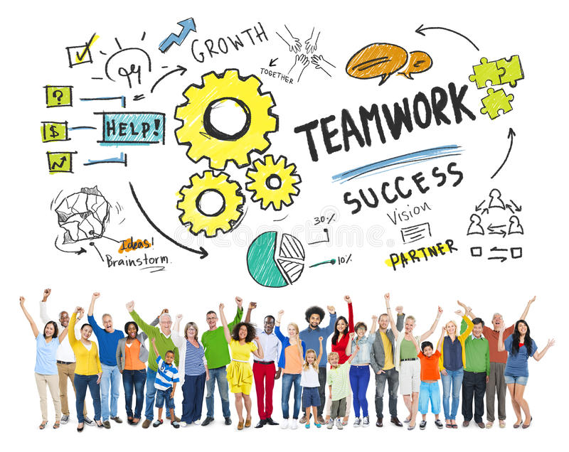 TeamworkTeam Together Collaboration People Celebration begrepp arkivfoton