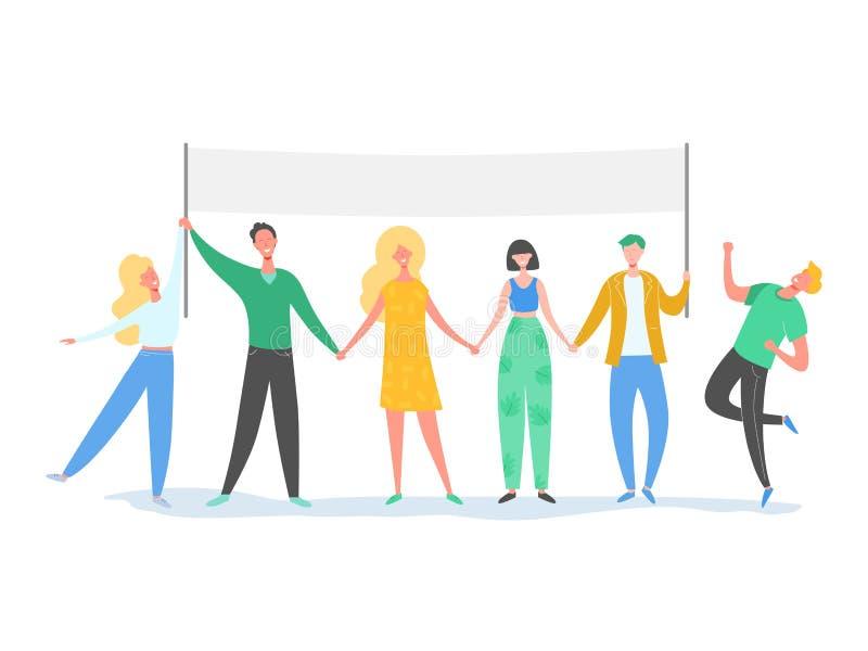 Teamworktecken som står i linjen som rymmer textbrädet Le folkillustrationen Kamratskap ledarskap, affärslag royaltyfri illustrationer