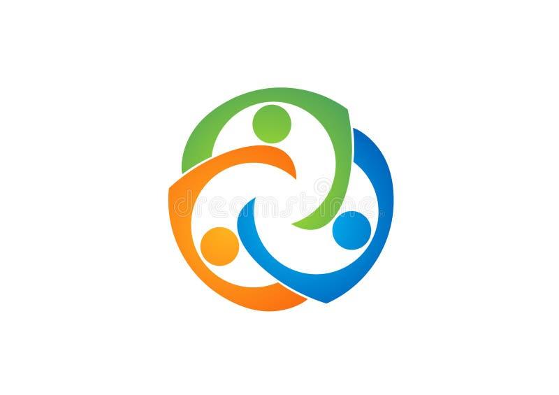 Teamworkutbildningslogo, samkväm, lag, nätverk, design, vektor, logotyp, illustration royaltyfri illustrationer