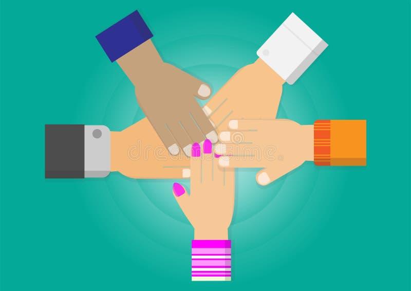 Teamworkvektor för fem händer tillsammans royaltyfri illustrationer