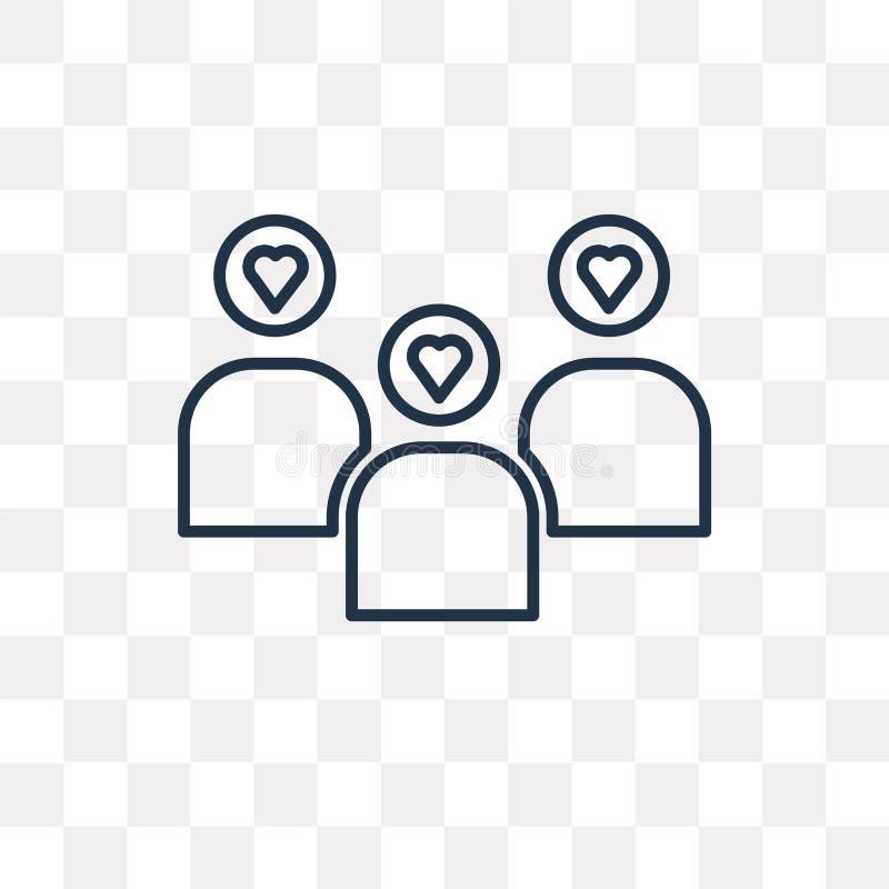 Teamworkvektorsymbol som isoleras på genomskinlig bakgrund som är linjär royaltyfri illustrationer