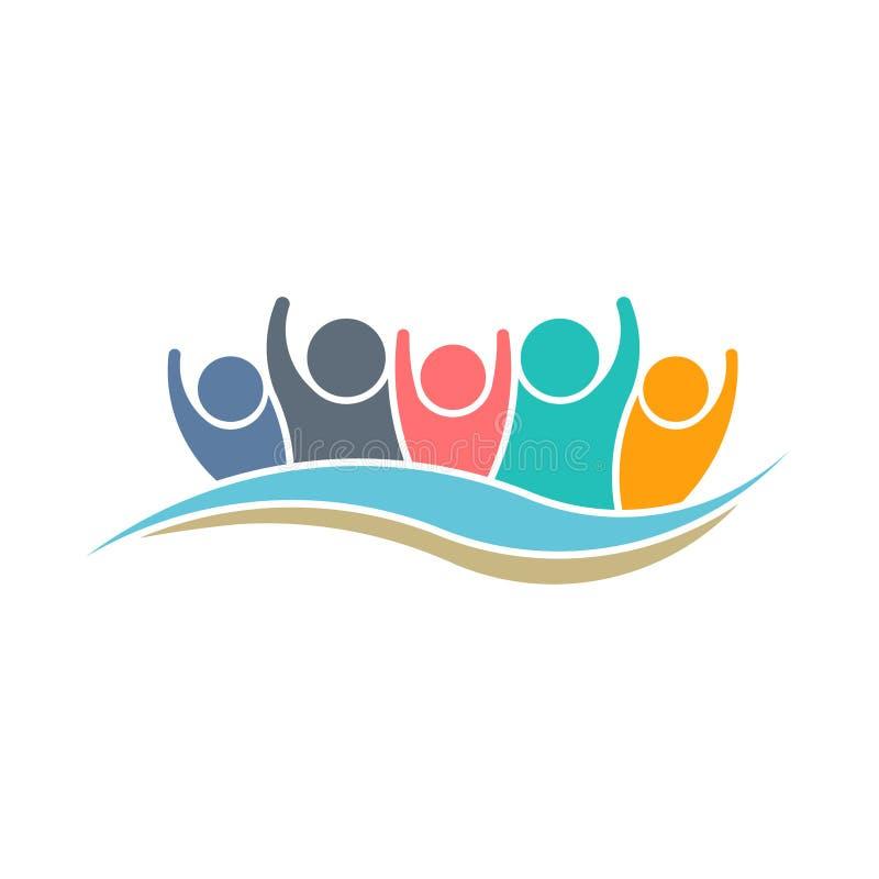 Teamworkvinnare Logo Design vektor illustrationer