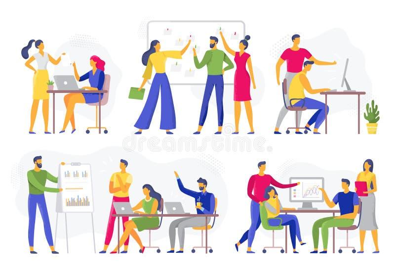 Teamzusammenarbeit Teamwork-Werkstattsitzung, kreativer Geistesblitz und Vektorillustrationssatz der B?roangestellt-Teams flacher lizenzfreie abbildung