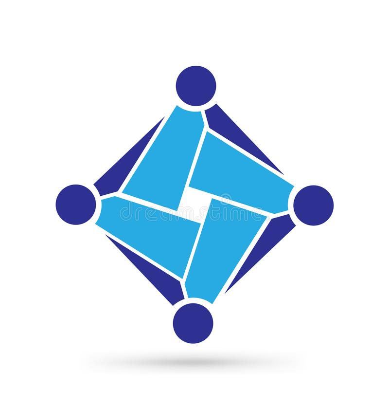 Teanwork för affärsabstrakt begreppgrupp, symbolssymbol stock illustrationer
