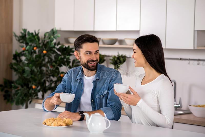 Positive young couple drinking tea at home stock photos