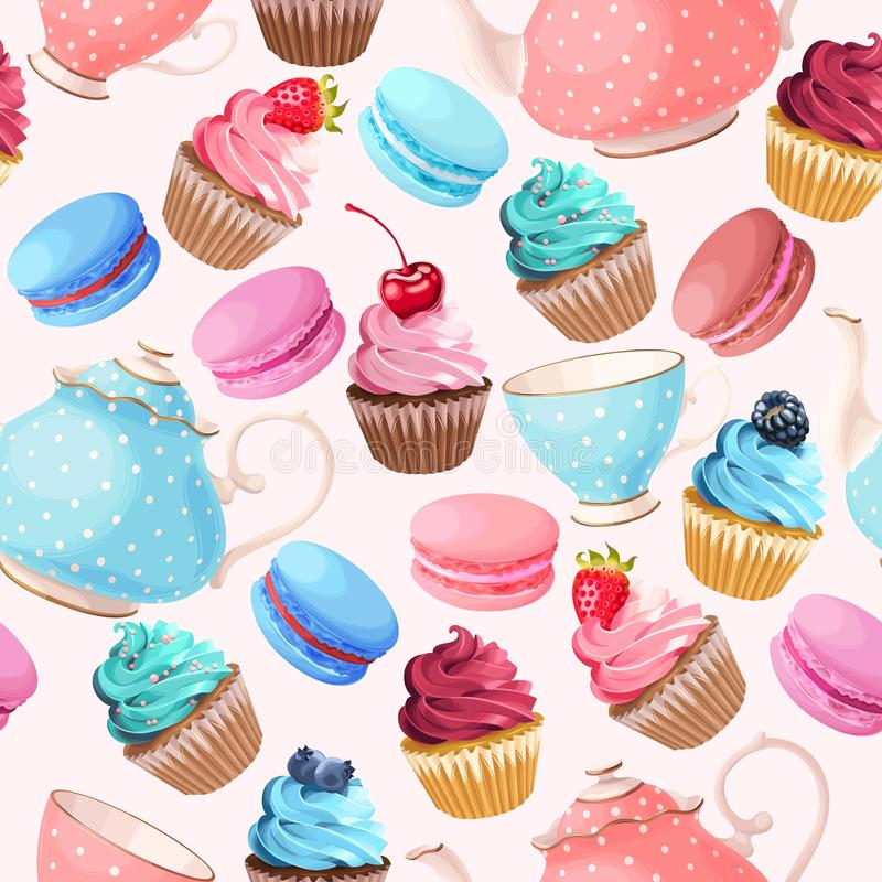 Teaparty seamless background royalty free illustration