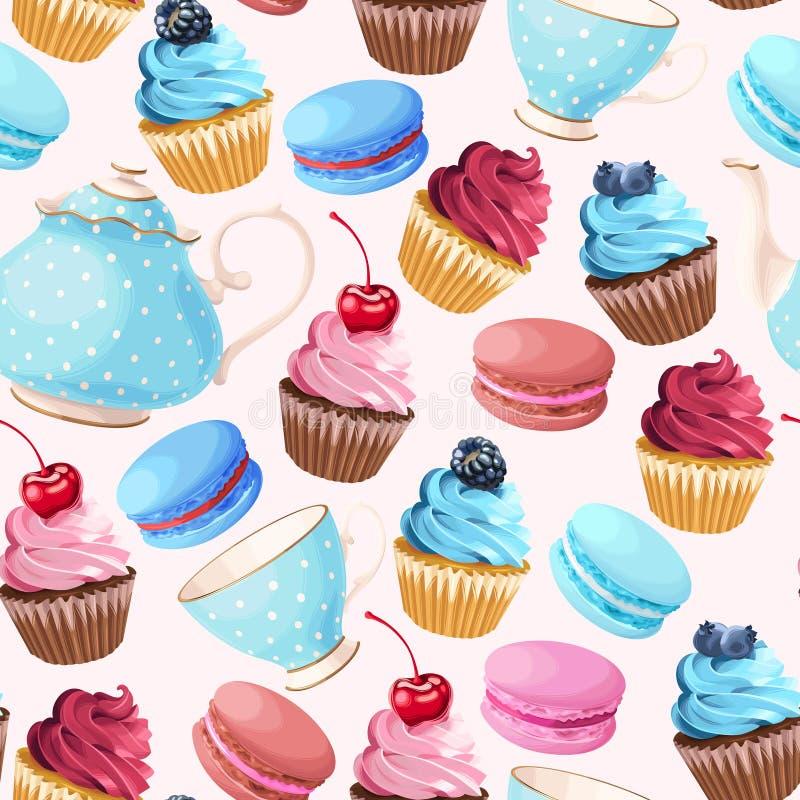 Teaparty seamless background stock illustration