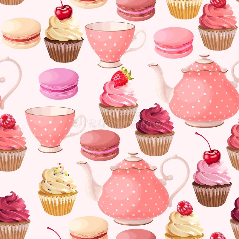Teaparty seamless background vector illustration
