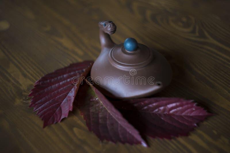 Teapot αργίλου με το κεφάλι δράκων στο κινεζικό ύφος με τα φύλλα κόκκινων σταφυλιών στο σκοτεινό ξύλινο υπόβαθρο στοκ φωτογραφίες με δικαίωμα ελεύθερης χρήσης