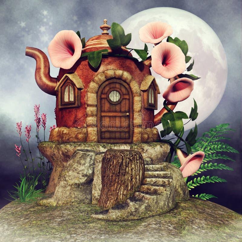 Teapot εξοχικό σπίτι νεράιδων διανυσματική απεικόνιση