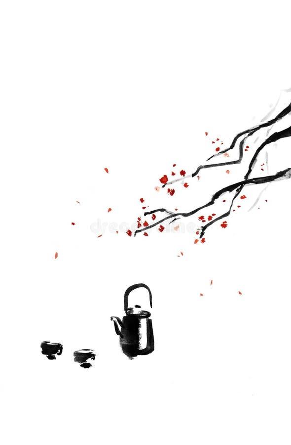 Teapot και φλυτζάνια διανυσματική απεικόνιση