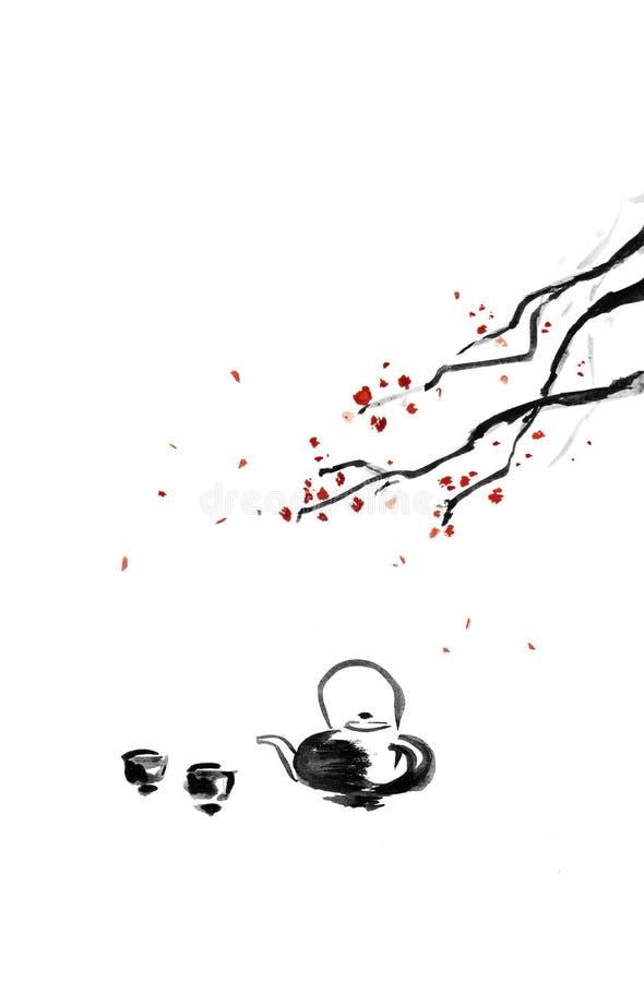Teapot και φλυτζάνια ελεύθερη απεικόνιση δικαιώματος