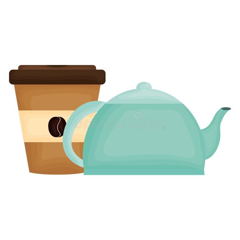 Teapot κουζινών με τον καφέ στο πλαστικό εμπορευματοκιβωτίων απεικόνιση αποθεμάτων