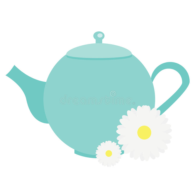 Teapot με τα chamomile λουλούδια, herbals Μπλε διανυσματική απεικόνιση κατσαρολών τσαγιού απεικόνιση αποθεμάτων