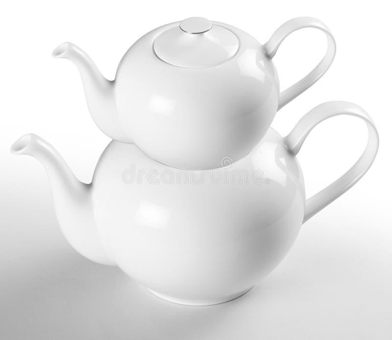Teapot πορσελάνης με το ψαλίδισμα της πορείας στοκ φωτογραφίες με δικαίωμα ελεύθερης χρήσης