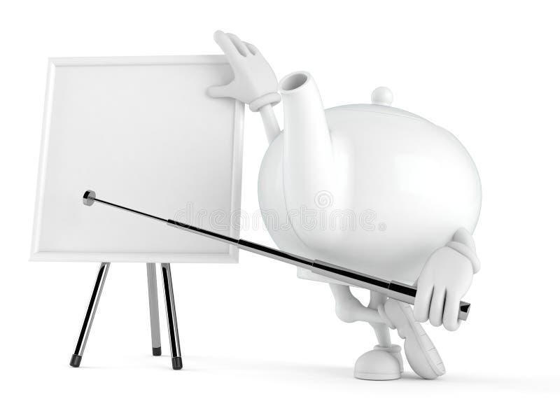 Teapot χαρακτήρας με το κενό whiteboard διανυσματική απεικόνιση
