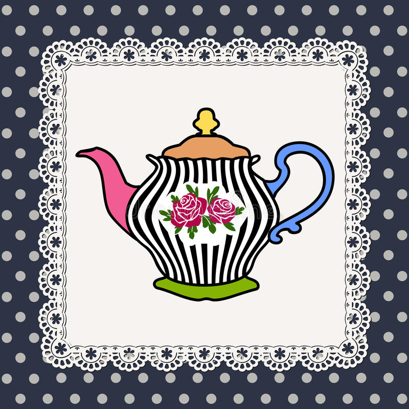 Teapot. Abstract illustration of teapot with roses on lace frame and polka dot background stock illustration