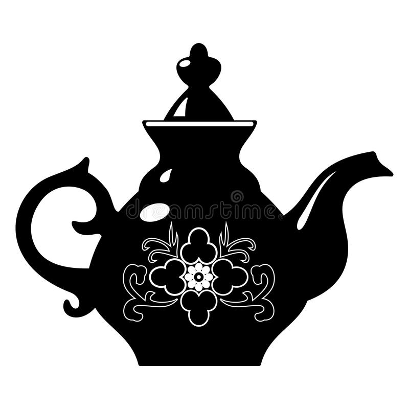 Teapot. Vector black and white illustration of teapot royalty free illustration