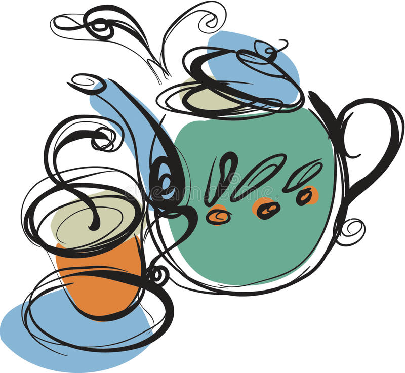 Teapot. A teapot and A cup of hot tea royalty free illustration