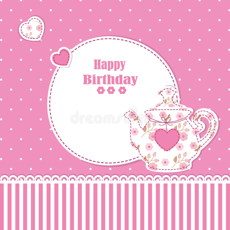 Teapot background. Cute background with teapot for baby shower, birthday, tea party royalty free illustration
