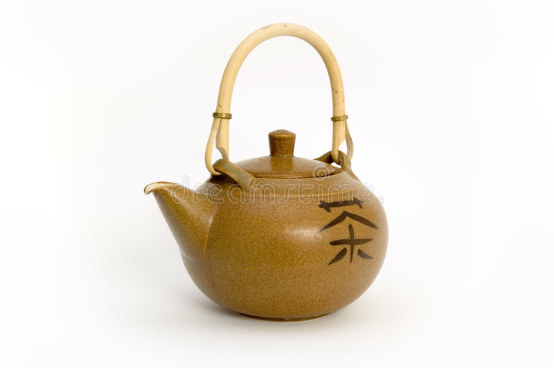 Teapot with chinese sign of te royalty free stock photos