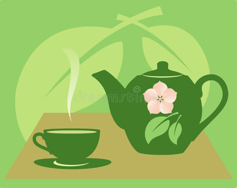 Teapot com um copo de chá. ilustração do vetor